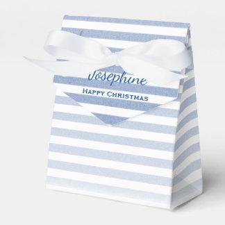 Blue Stripes Christmas Snow Template Favour Box