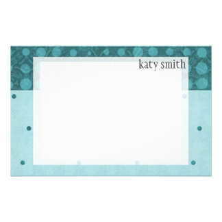 Blue Stripes & Dots Personalized Stationery Paper