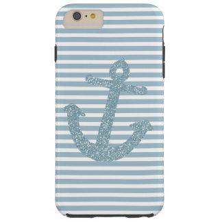 Blue Stripes Faux Glitter Anchor Tough iPhone 6 Plus Case