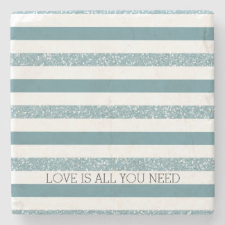 Blue Stripes Faux Glitter Stone Coaster