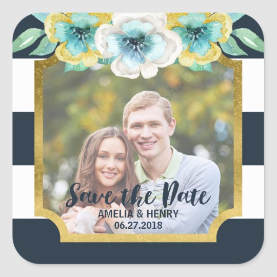 Blue Stripes Faux Gold Floral Save the Date