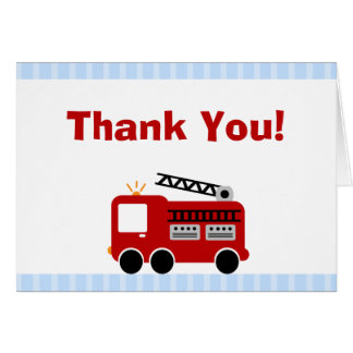 Blue Stripes Fire Truck Thank You Note Card