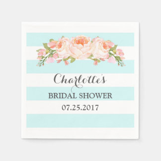 Blue Stripes Floral Bridal Shower Napkin Disposable Serviettes