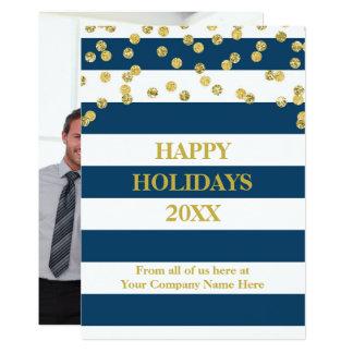 Blue Stripes Gold Confetti Christmas Business Card