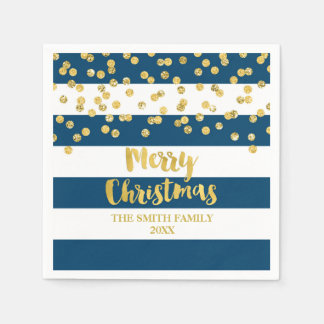 Blue Stripes Gold Confetti Merry Christmas Napkin Disposable Serviettes