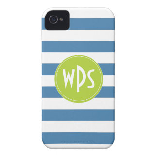 Blue Stripes, Lime Green, Monogram, iPhone 4/4s iPhone 4 Case-Mate Cases
