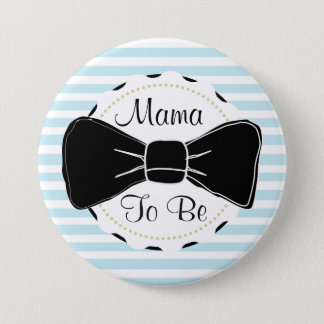 Blue Stripes Mama to be Bow Tie Baby Shower 7.5 Cm Round Badge