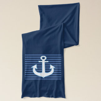 blue stripes & navy anchor nautical scarf