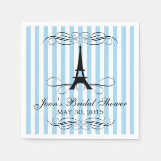 Blue Stripes Paris Eiffel Tower   Bridal Shower Disposable Napkin
