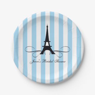 Blue Stripes Paris Eiffel Tower | Bridal Shower Paper Plate