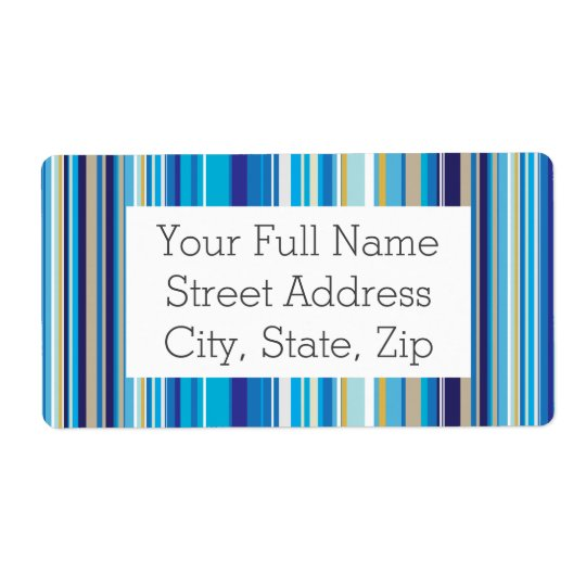 Blue Stripes Pattern Shipping Label