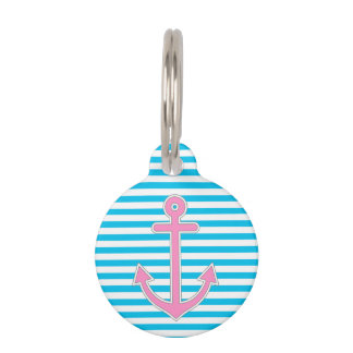 Blue Stripes Pink Anchor Nautical Pet ID Tag