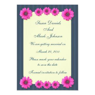 Blue Stripes Pink Flowers Wedding Save The Date 13 Cm X 18 Cm Invitation Card