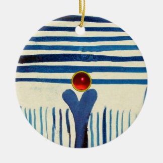 BLUE STRIPES & RED RUBY ROUND CERAMIC DECORATION