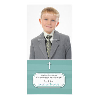 Blue Stripes Religious Photo Card