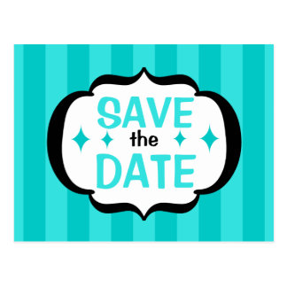 Blue Stripes Save the Date Postcard