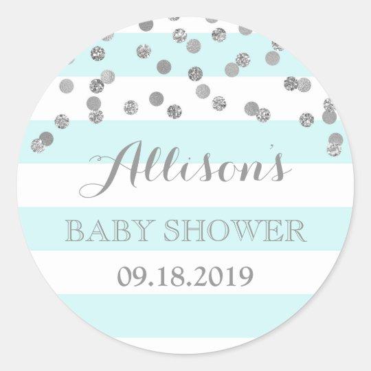 Blue Stripes Silver Confetti Baby Shower Favour Classic