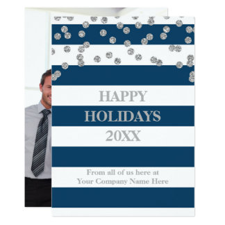 Blue Stripes Silver Confetti Christmas Business Card