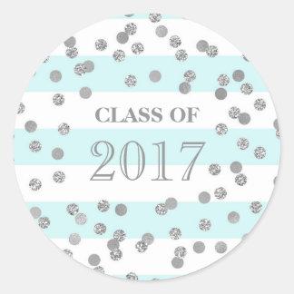 Blue Stripes Silver Confetti Grad Class 2017 Classic Round Sticker