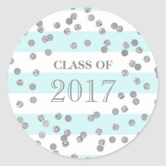 Blue Stripes Silver Confetti Grad Class 2017 Round Sticker