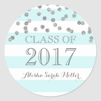 Blue Stripes Silver Confetti Graduation 2017 Round Sticker