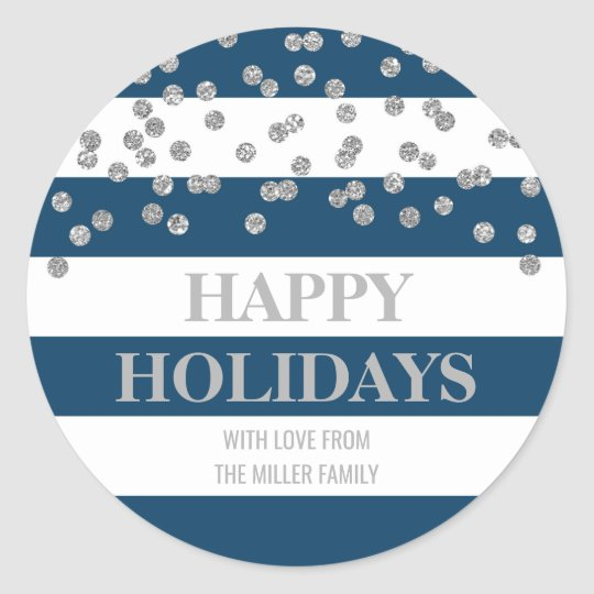 Blue Stripes Silver Confetti Happy Holidays Custom Classic