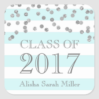 Blue Stripes Silver Graduation Class of 2017 Square Sticker