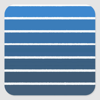 blue stripes square sticker