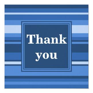 Blue stripes thank you card 13 cm x 13 cm square invitation card