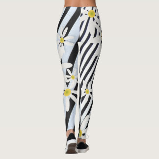 Blue Stripes White Daisy Leggins Leggings