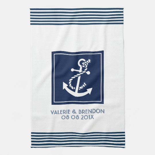 Blue Stripes With White Nautical Boat Anchor Tea