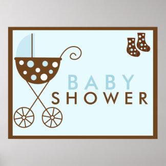 Blue Stroller Baby Shower Sign