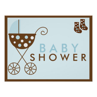 Blue Stroller Baby Shower Sign Poster