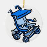 blue stroller christmas tree ornament