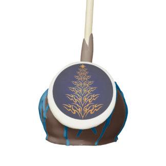 Blue Stylish Christmas Tree Cake Pops