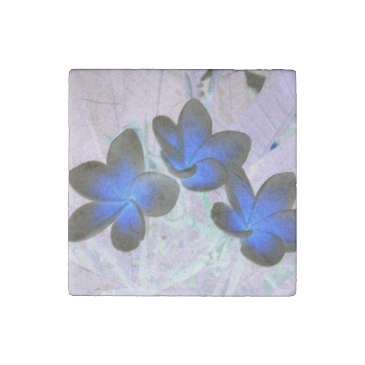 Blue Stylish Flower Stone Magnet