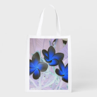 Blue Stylish Flower Grocery Bags