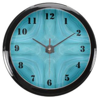 Blue stylish wood pattern aqua clocks