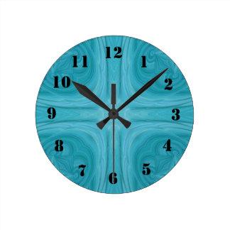 Blue stylish wood pattern clock