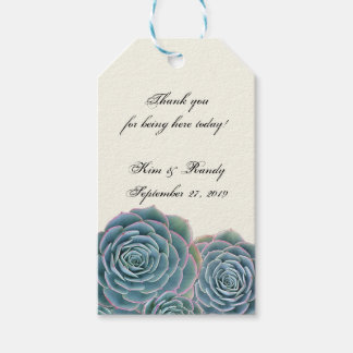 Blue Succulent Tie On Wedding Favor Gift Tags