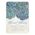 Blue Succulents Country Bridal Shower 13 Cm X 18 Cm Invitation Card