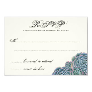 Blue Succulents Wedding RSVP Extra Line Card