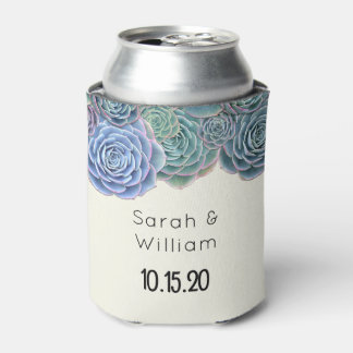 Blue Succulents Wedding Welcome Can Coozie