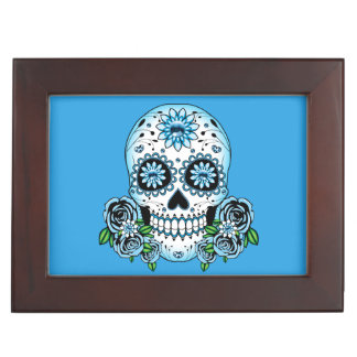 Blue Sugar Skull Keepsake Box
