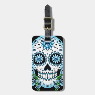 Blue Sugar Skull Luggage Tag