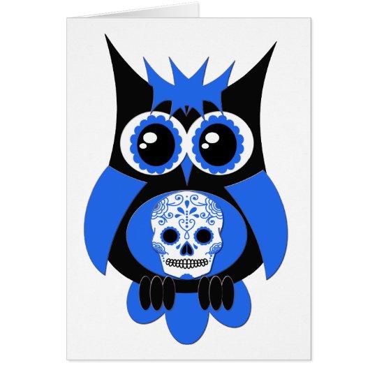 Blue Sugar Skull Owl Card