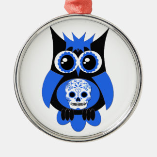 Blue Sugar Skull Owl Ornament