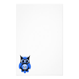 Blue Sugar Skull Owl Stationery