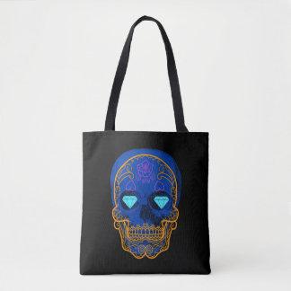 Blue Sugar Skull Tote