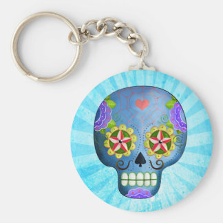 Blue Sugar Skull with Mustaches Key Chains